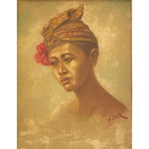 Framed Oil on Canvas of a Woman Wearing a Turban