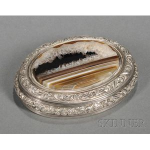 Scottish George IV Silver and Agate-mounted Snuff Box