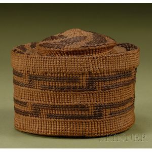 Northwest Coast Twined Rattle-top Basketry Bowl