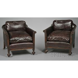 Pair of Victorian Leather-upholstered Mahogany Club Chairs