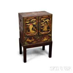 Lacquer Two-door Chest on Stand