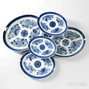 Five Graduated Fitzhugh Porcelain Oval Platters