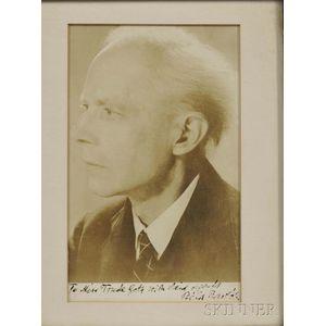 Bartok, Bela (1881-1945) Signed Photograph.
