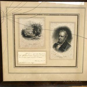 Cooper, James Fenimore (1789-1851) Secretarial Invitation to Dinner, Undated, Mid-19th Century.