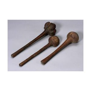 Three Polynesian Carved Wood Throwing Clubs