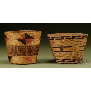 Two Northwest Coast Twined Basketry Bowls