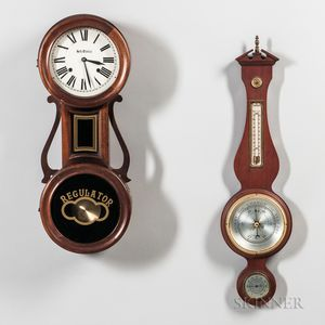 Seth Thomas Wall Clock and Swift Instrument Aneroid Wall Barometer