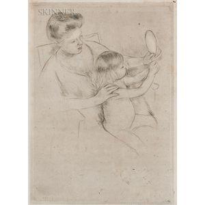 Mary Cassatt (American, 1844-1926)      Looking into the Hand Mirror No. 2