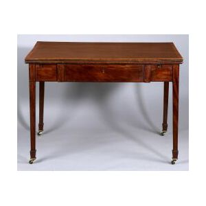 Late George III Rosewood Crossbanded and Ebony Inlaid Mahogany Library Table
