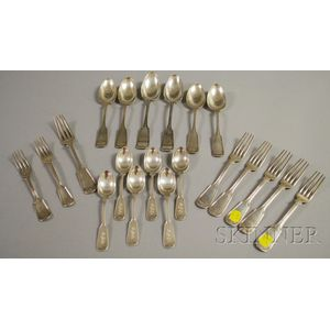 Approximately Twenty Assembled Partial Coin Silver Flatware Items
