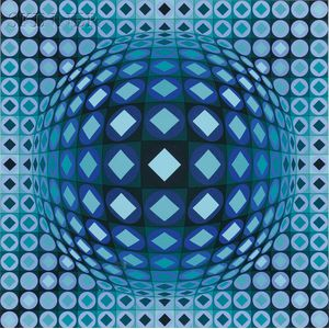 Victor Vasarely (Hungarian/French, 1906-1997)      Untitled (Blue Sphere)
