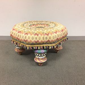 MacKenzie-Childs Upholstered Ceramic and Plywood Ottoman
