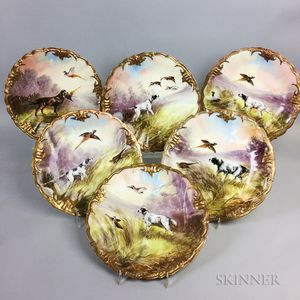 Set of Six Limoges for Ovington Bros. Hand-painted Porcelain Hunting Plates
