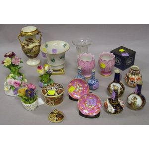 Eighteen Pieces of Assorted Small Decorative Porcelain and Pottery Table Items and a Glass Footed Vase.