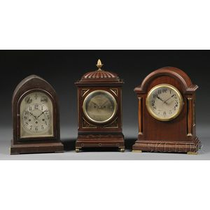 Elliott Mahogany Table Clock and Two Others