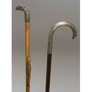 Two Metal-topped Canes