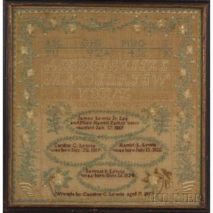 Needlework Genealogical Sampler of the Lewis Family