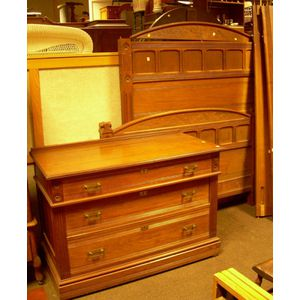 Eastlake-type Carved Walnut Dresser and Bed Set
