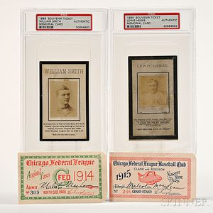 Lewis Henke and William Smith Souvenir Tickets and 2 Chicago Federal League Tickets