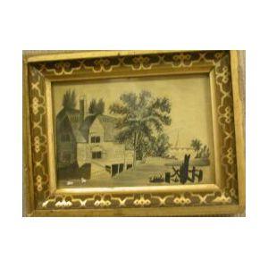 Framed Pen and Ink Miniature Landscape.