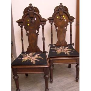 Pair of Renaissance Revival Walnut Hall Chairs.