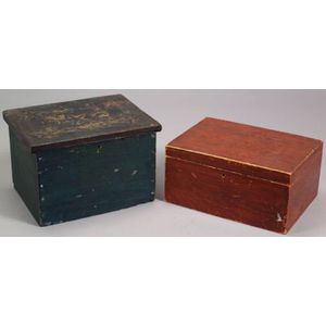 Two Paint Decorated Wooden Boxes