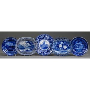 Five Blue and White Transfer-Printed Staffordshire Pottery Table Items