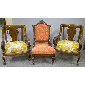 Pair of Late Victorian Carved Maple Parlor Armchairs with Upholstered Cushion Seats, and a Victorian Renaissanc...