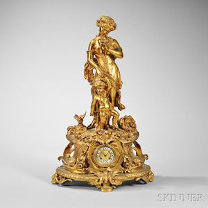 Louis XV-style Gilt-bronze Mantel Clock