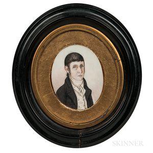 John Brewster Jr. (Connecticut/Maine, 1766-1854)      Miniature Portrait of a Gentleman