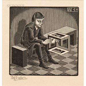 M.C. Escher (Dutch 1898-1972)      Man with Cuboid