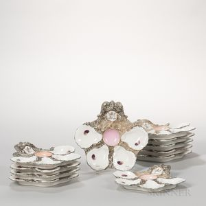 Set of Eleven Limoges Porcelain Oyster Plates Set of Eleven Limoges...