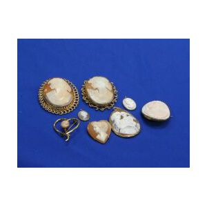 Eight Shell Cameo Items.