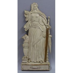 Carved and Painted Poplar Bas Relief Figure of Justice
