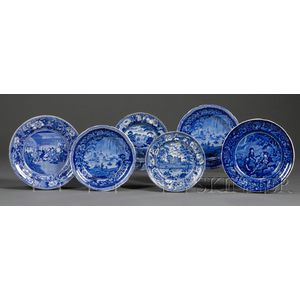 Six Blue and White Staffordshire Pottery Plates