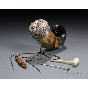 Scottish Victorian Silver-mounted Horn Snuff Mull