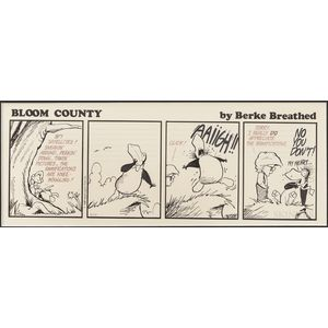 Breathed, Berke (b. 1957) Three Original Bloom County Cartoon Strip Drawings, 1988-89.