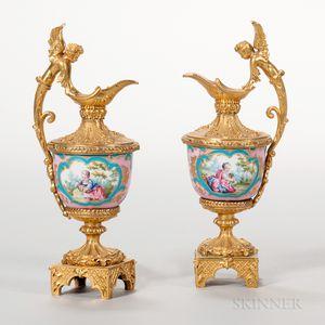 Pair of Miniature Gilt-bronze-mounted Porcelain Ewers