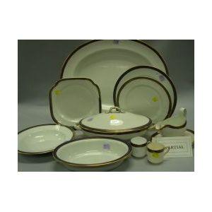 Forty-nine Piece Copeland Gilt and Cobalt Band Decorated Ceramic Partial Dinner   Service