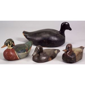 Four Carved and Painted Wooden Duck Decoys