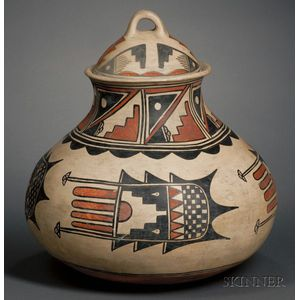 Large Southwest Polychrome Pottery Jar with Lid