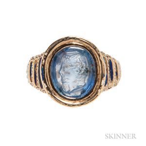 Gold and Carved Sapphire Ring