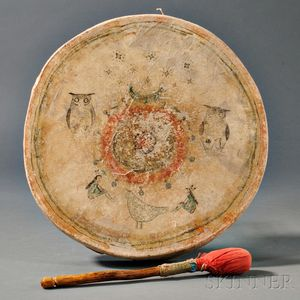 Plains Pictorial Wood and Hide Drum
