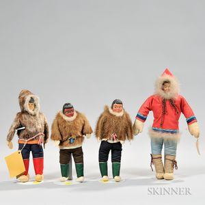 Four Grenfell-style Eskimo Dolls
