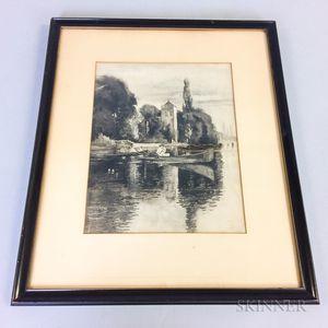 Joseph Pennell (American, 1857-1926)    Lakeside Canoe Scene