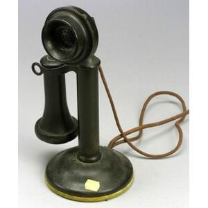 Western Electric Candlestick Telephone and a Cram Globe