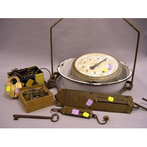 Two Brass and Iron Hanging Spring Scales, a Hanging Scale, and a Collection of Keys and Assorted Padlocks.
