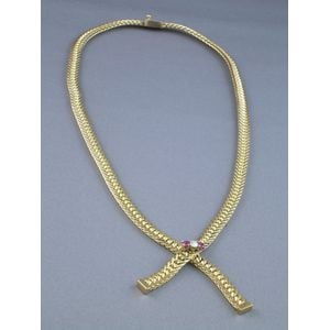 Krementz 14kt Gold Herringbone Necklace