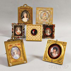 Seven Framed Portrait Miniatures