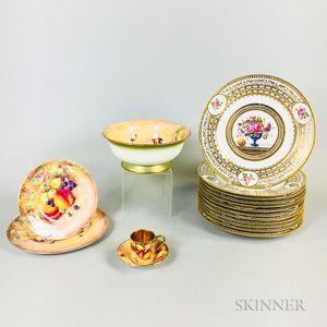 Set of Five Royal Worcester and Twelve French Porcelain Items.     Estimate $200-300